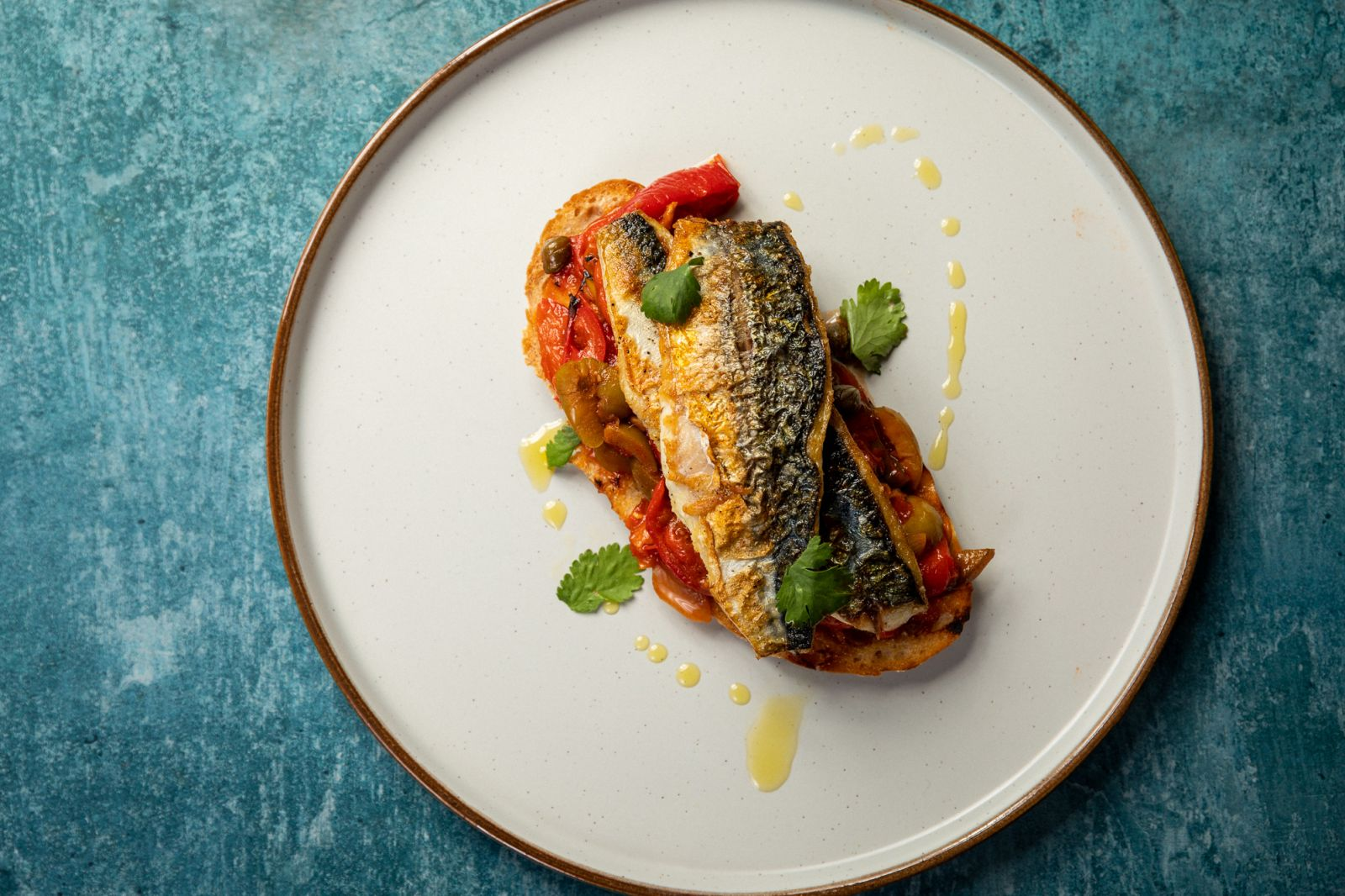 Pan fried mackerel with pepperonata, Photo by Mike Searle