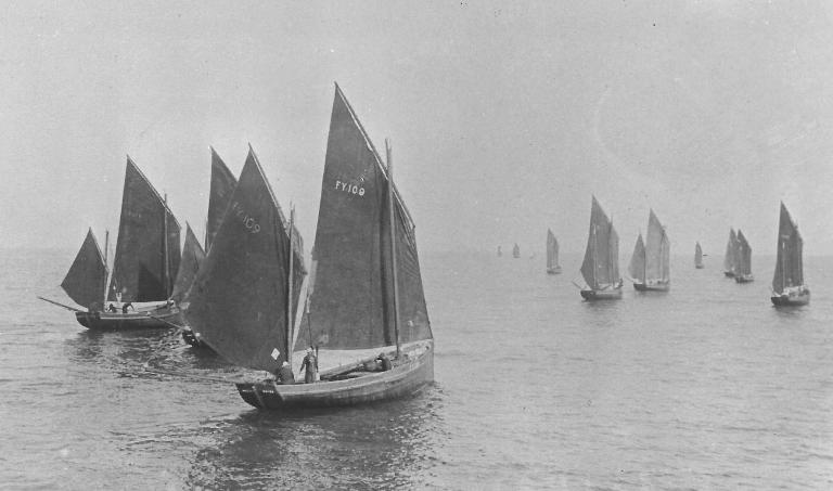 Mevagissey Luggers heading out to sea from an old post card